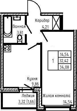1-к.кв, 34.08 м²