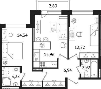 3-к.кв (евро), 58.17 м²