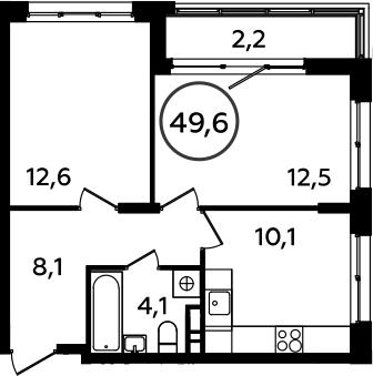 2-к.кв, 49.6 м²