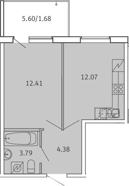 1-к.кв, 34.33 м²