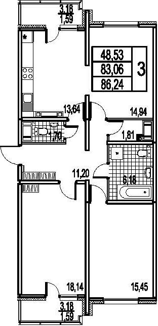 3-к.кв, 89.42 м²