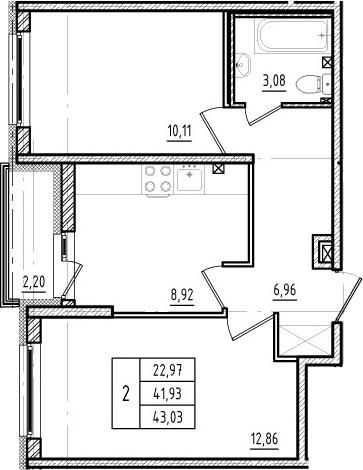 2-к.кв, 41.93 м²