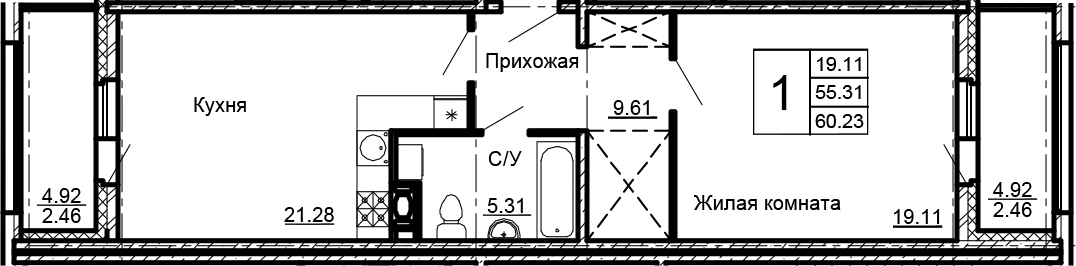 2Е-к.кв, 60.23 м²
