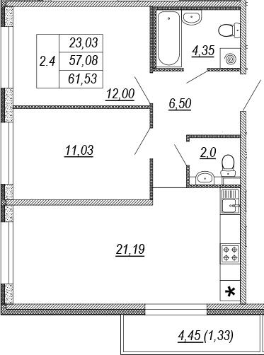 3Е-к.кв, 57.08 м², от 9 этажа