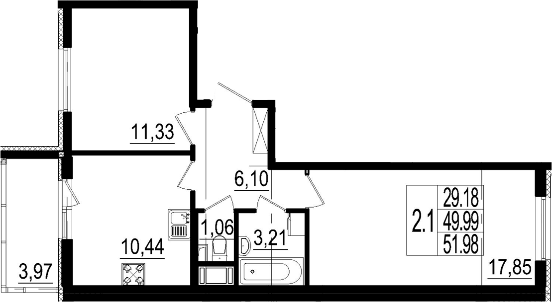 2-комнатная, 49.99 м²– 2