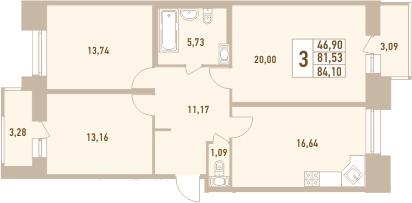 3-к.кв, 87.9 м²
