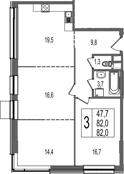 3-к.кв, 82 м²