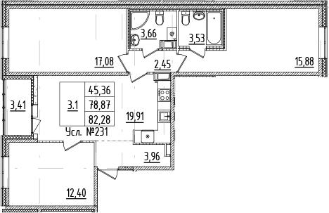 4Е-комнатная квартира, 78.87 м², 12 этаж – Планировка