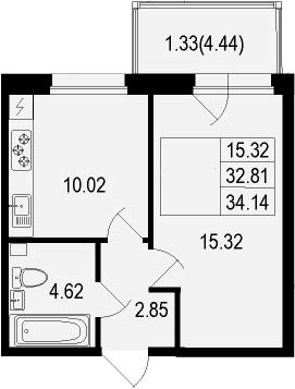 1-комнатная, 34.14 м²– 2