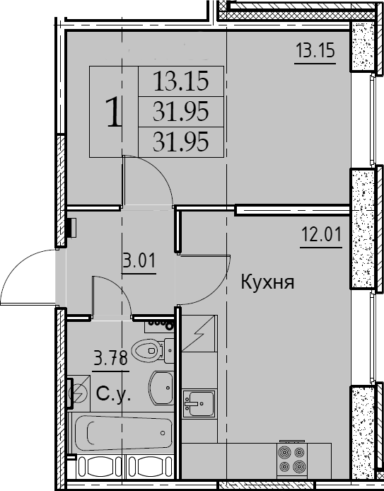 1-к.кв, 31.95 м², 2 этаж
