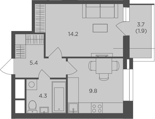 1-к.кв, 35.46 м²