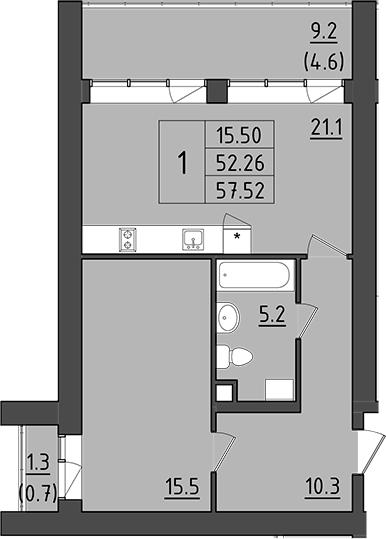 2Е-комнатная, 62.76 м²– 2