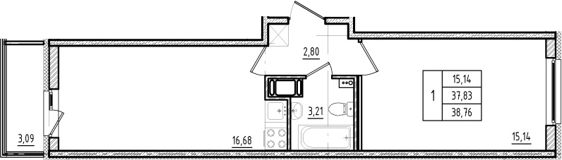 2Е-к.кв, 37.83 м²
