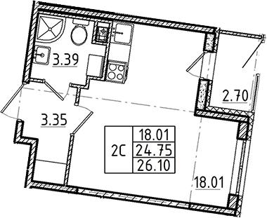 Студия, 24.75 м², 1 этаж