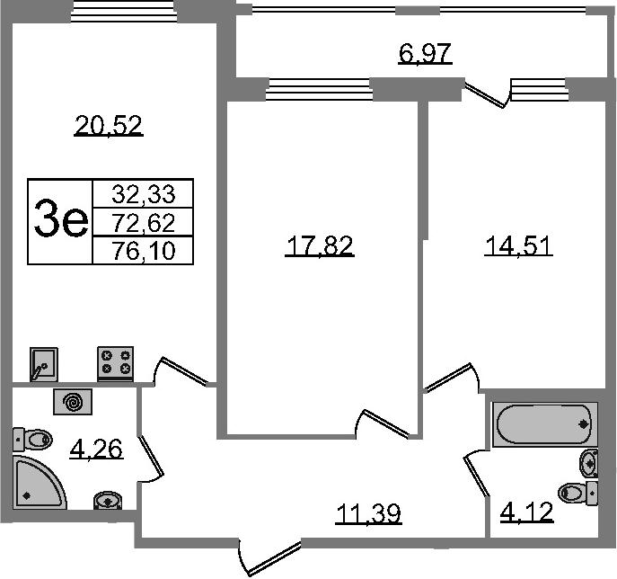 3Е-комнатная, 72.62 м²– 2