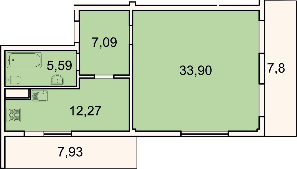1-к.кв, 63.6 м²