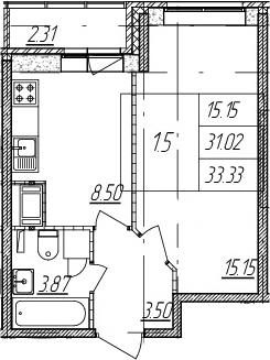 1-к.кв, 31.02 м², 2 этаж