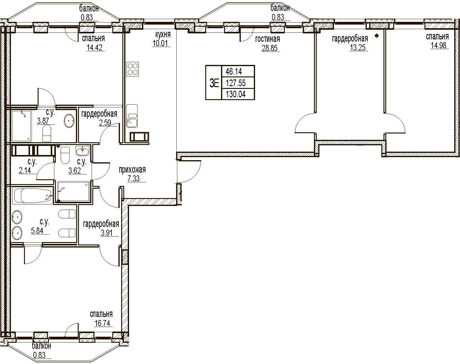 4Е-комнатная, 130.04 м²– 2