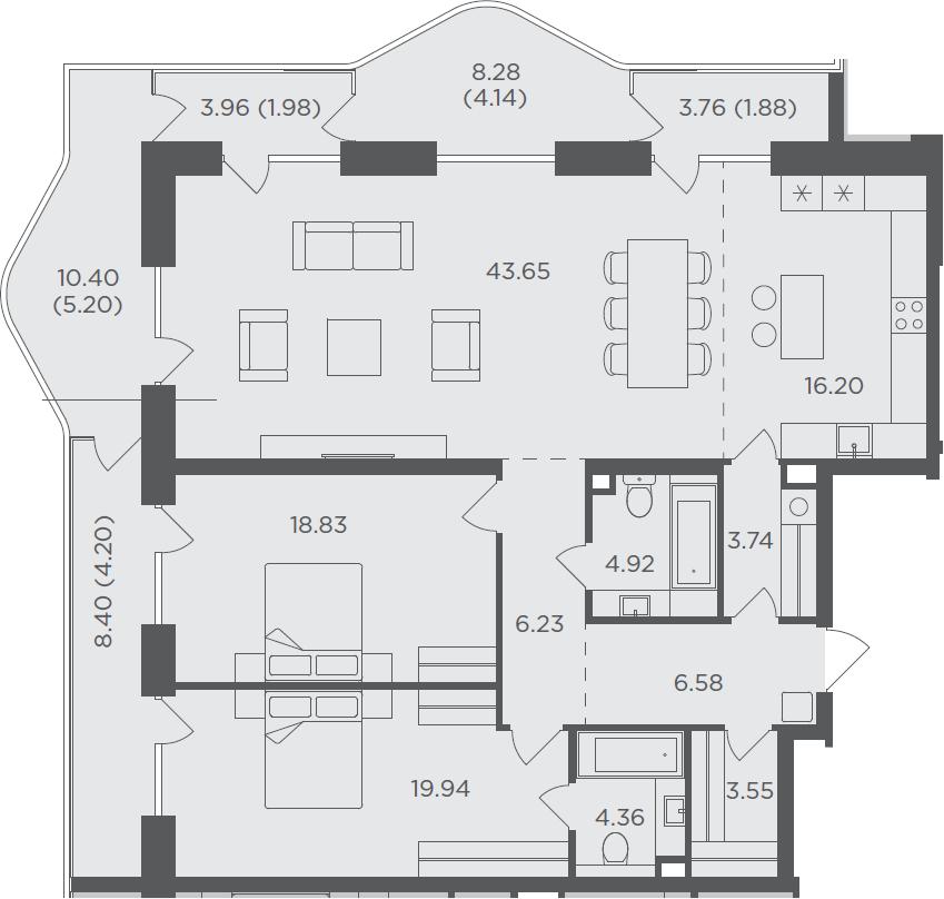 3-комнатная, 145.4 м²– 2
