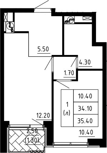 1-к.кв, 35.4 м², 7 этаж