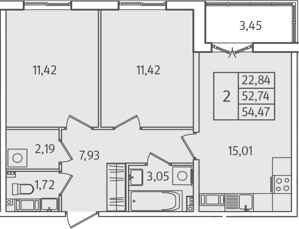 3-к.кв (евро), 56.19 м²