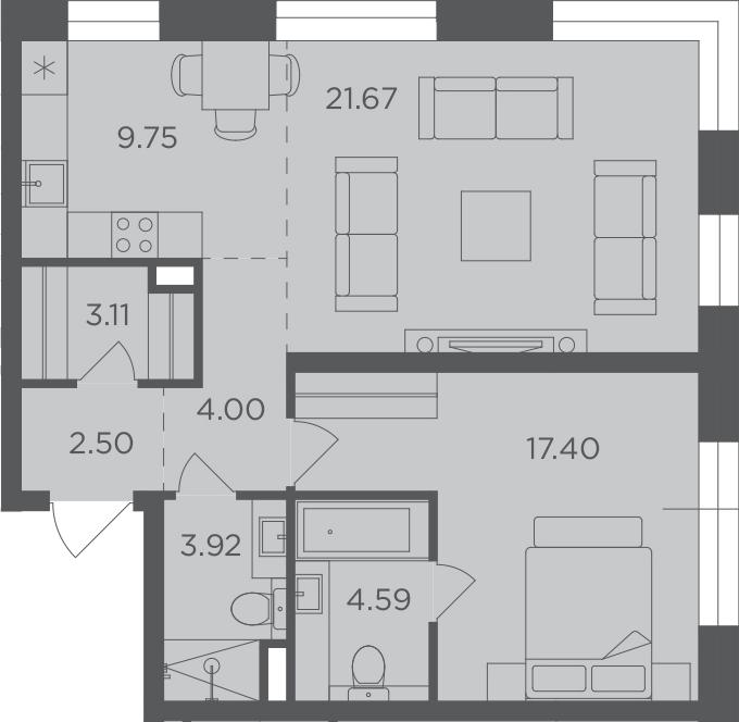 2Е-к.кв, 66.94 м², 2 этаж