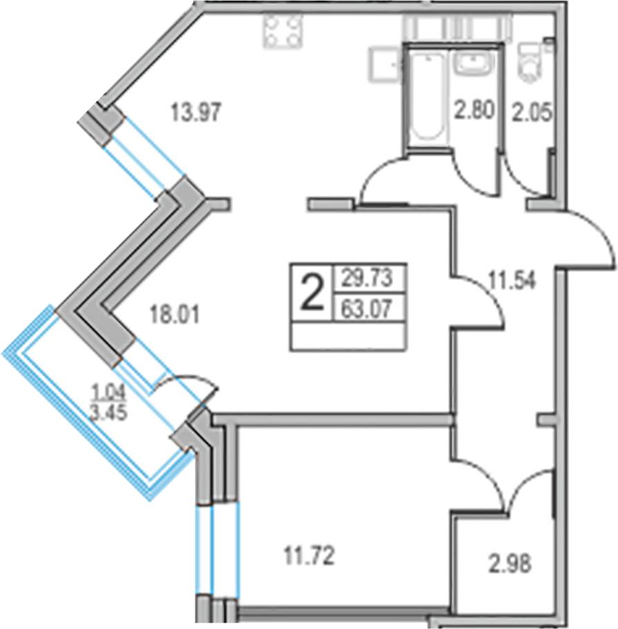 2-к.кв, 63.07 м²