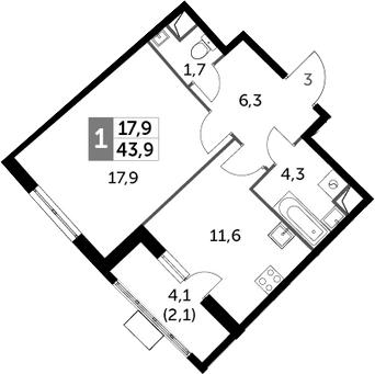 1-комнатная, 43.9 м²– 2