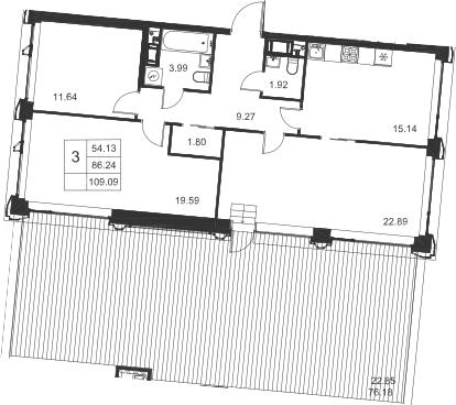 3-к.кв, 109.09 м², 9 этаж