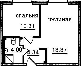 2Е-к.кв, 37.52 м², от 4 этажа