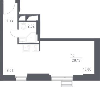 Студия, 28.15 м²– 2