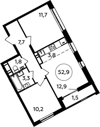 3Е-к.кв, 52.9 м², 13 этаж
