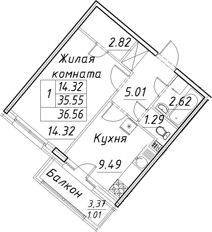 1-к.кв, 38.92 м²