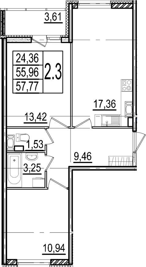 3-к.кв (евро), 59.57 м²
