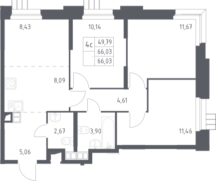 4Е-к.кв, 66.03 м²