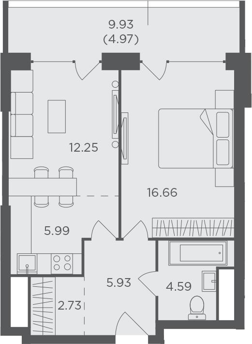 2Е-к.кв, 53.12 м², 19 этаж