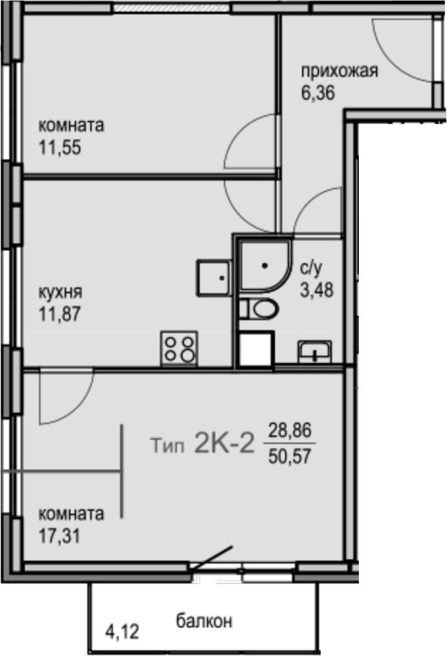 2-комнатная, 50.57 м²– 2