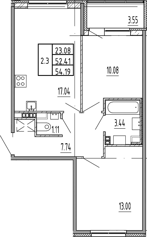 3Е-к.кв, 52.41 м²
