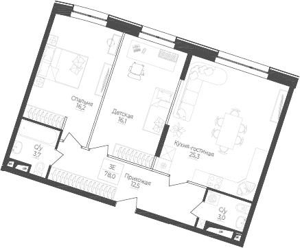 3Е-комнатная, 78 м²– 2