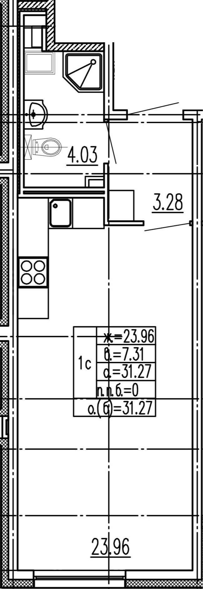 Студия, 31.27 м²– 2