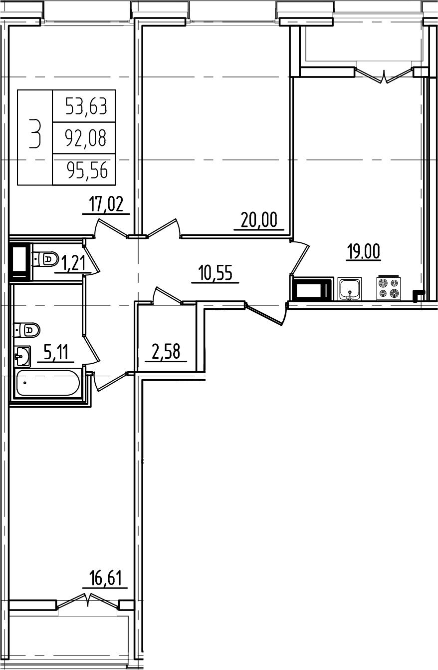 4-к.кв (евро), 99.04 м²