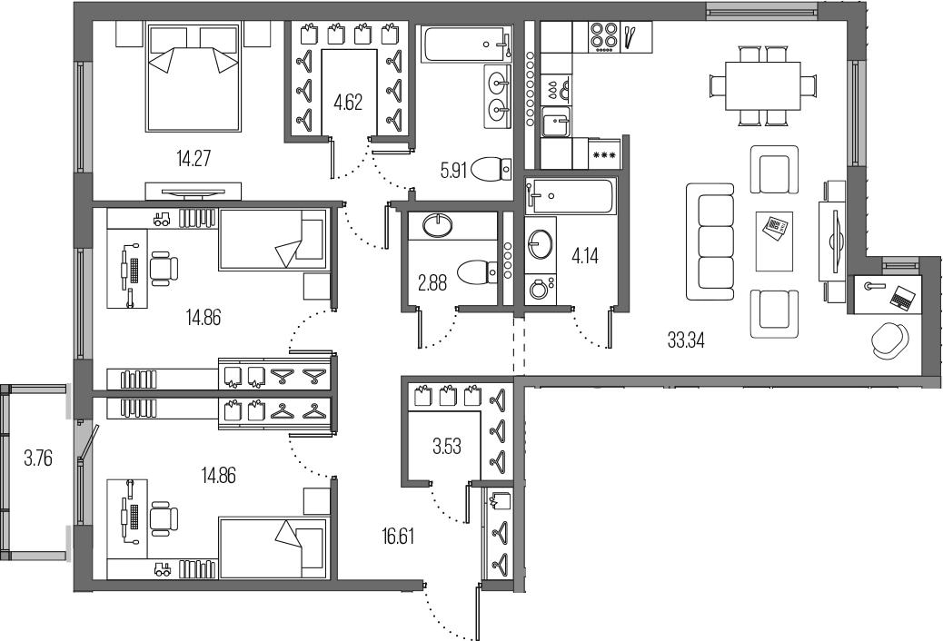4Е-комнатная, 115.02 м²– 2
