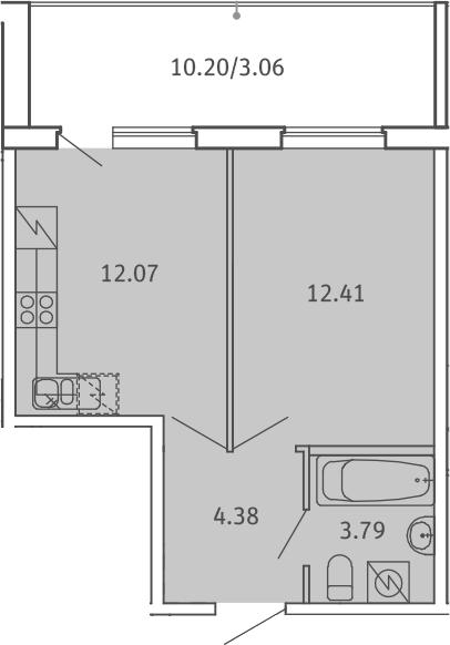 1-к.кв, 35.71 м², 1 этаж