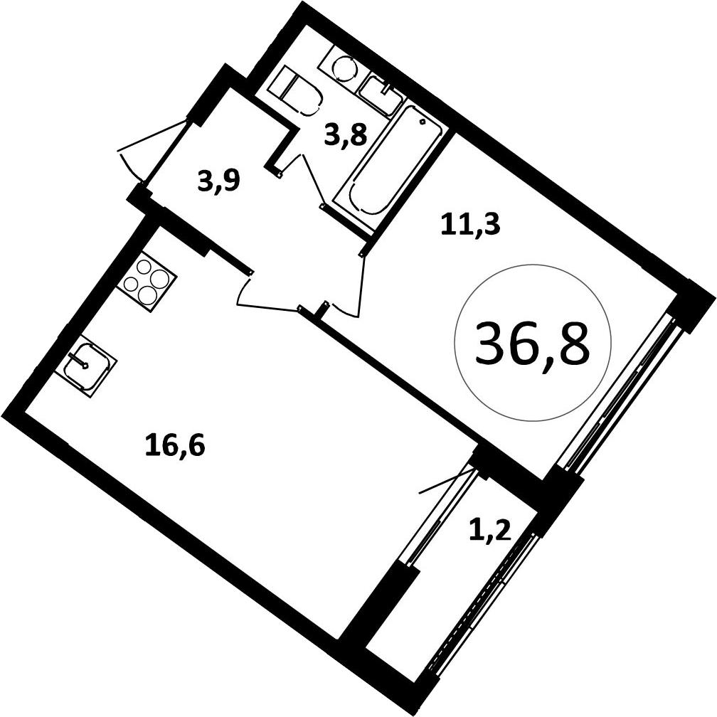 2-к.кв (евро), 38 м²