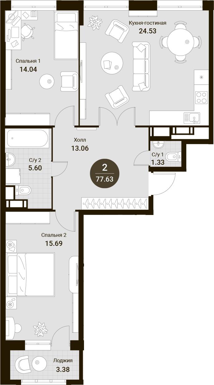 3Е-комнатная, 77.63 м²– 2