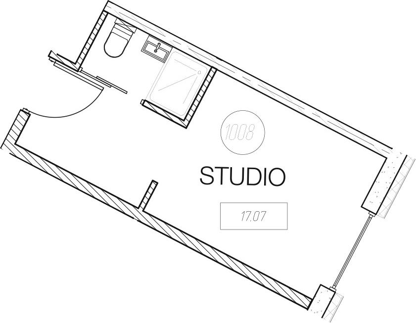 Студия, 17.07 м², 14 этаж