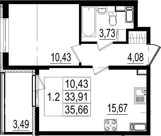 2Е-комнатная, 33.91 м²– 2