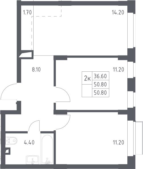 3Е-к.кв, 50.8 м²