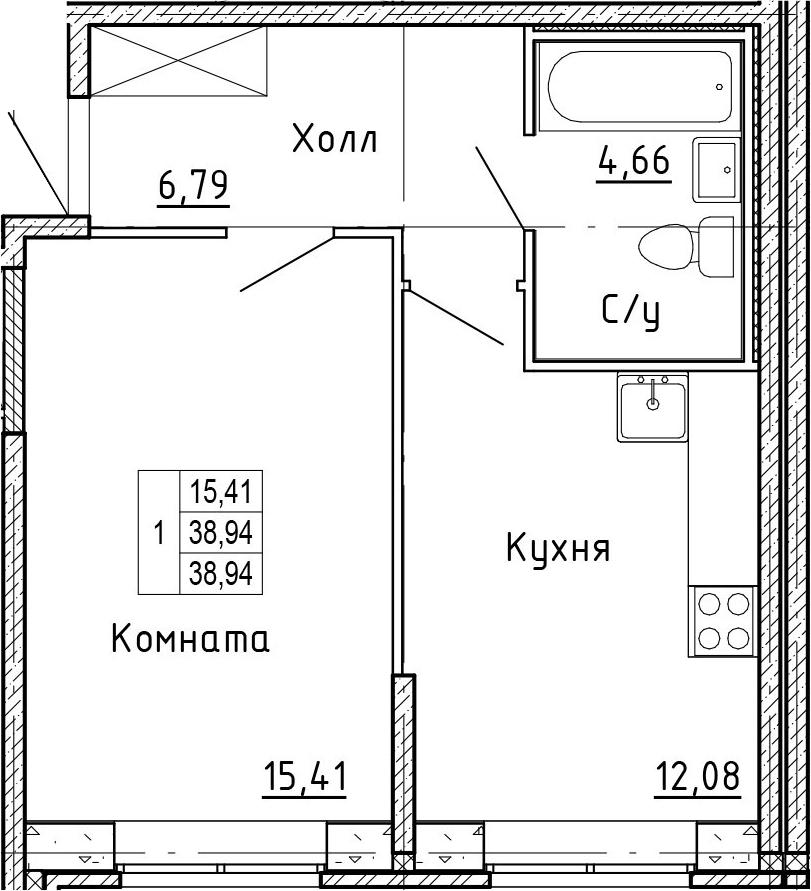1-к.кв, 38.94 м²