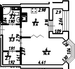 1-к.кв, 36.45 м², 8 этаж